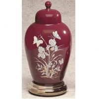 Ceramic Butterfly Urn in Burgundy