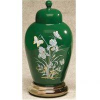 Ceramic Butterfly Urn Green
