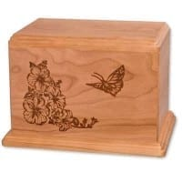 Wood Laser Etched Butterfly Urn