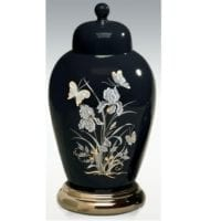 Ebony Ceramic Butterfly Urn