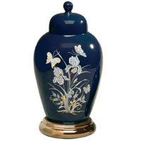 Ceramic Butterfly Urn in Navy