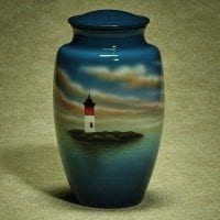 Hand Painted Lighthouse Urn