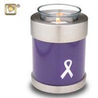 Purple Cancer Awareness Ribbon Candle Urn