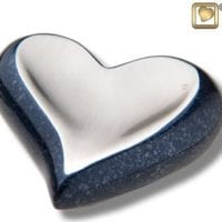 Blue Speckled Heart Keepsake Urn
