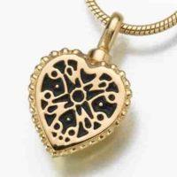 Filigree Heart Gold Vermeil Cremation Necklace
