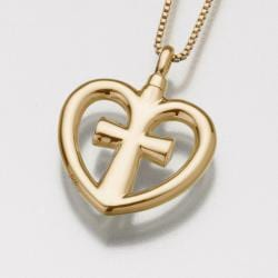 Crossheart Gold Vermeil Cremation Necklace