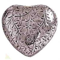 Silver Oak Leaf Heart Urn