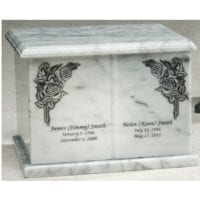 Evermore White Marble Urn with Corner Roses