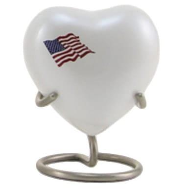 Flag Heart Urn White