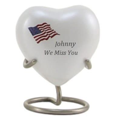flag heart urn
