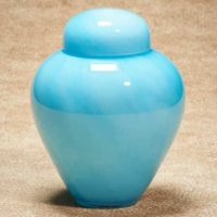 Moonlit Aqua Glass Urn