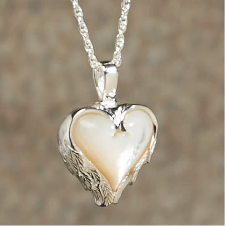 Mother Of Pearl Heart With Angel Wings