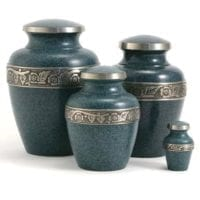 Avalon Small Blue Brass Urn