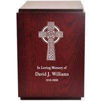 Etched Celtic Cross Wood Urn
