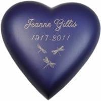 Medium Sized Heart Urn Violet/Blue Dragonflies