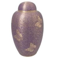 Brass Purple Butterflies Urn