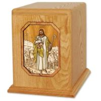 Lord is My Shepherd Oak Large Urn