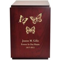 Engraved Wood Butterflies Urn