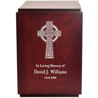 Etched Celtic Cross Wood Urn