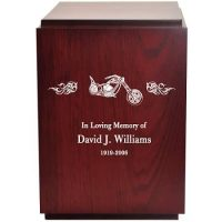 Cherry Motorcycle Urn Engraving Included