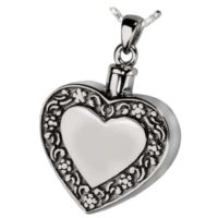 Heart with Floral Trim Ashes Jewelry Pendant