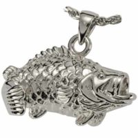 Silver Bass Fish Ashes Jewelry Pendant