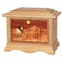 Riding Home Mountains Urn in Oak