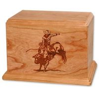 Bronco Riding Wood Urn