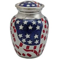 American Flag Brass Small Urn