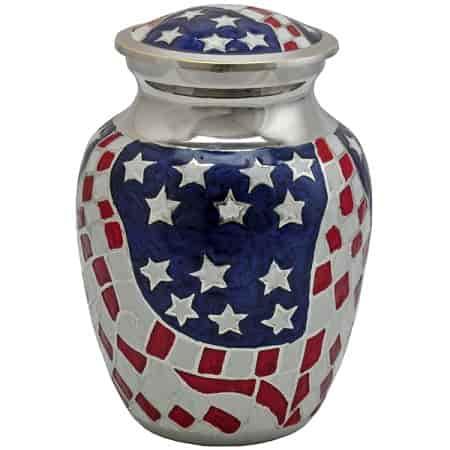 American Flag Brass Small Urn