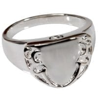 Silver Sheild Engravable Cremation Ring