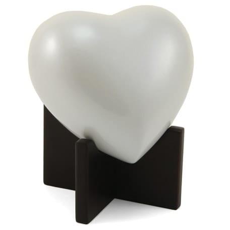 White Pearl Heart Urn. Small/Medium