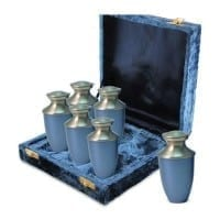 Blue Brass Keepsake Urns Set of 6