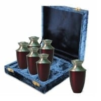 Red Brass Keepsake Urns Set of 6