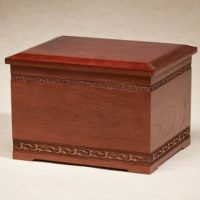 Cherry Carved Trim Large  Urn