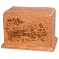 Deer Etched Wood Urn for Two