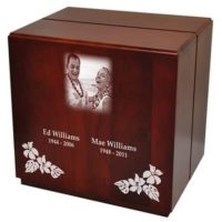Laser Photo Cherry Finish Urn for Two