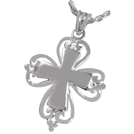 Fancy Cross Cremation Necklace