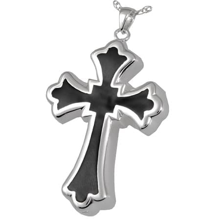 Silver and Black Cross for Cremated Ashes