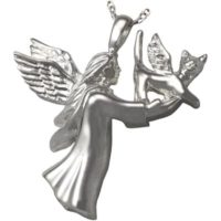 Sterling Silver Angel Cat Urn Pendant