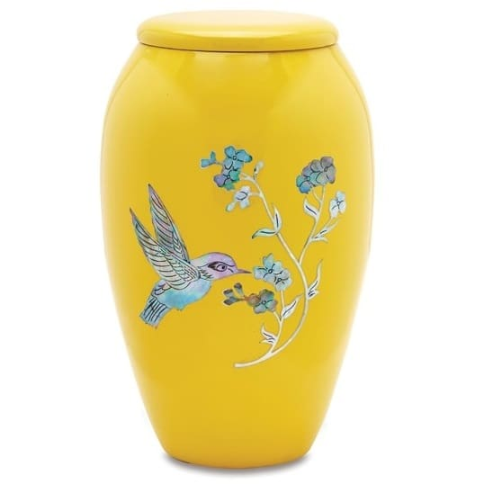 Yellow Hummingbird Urn