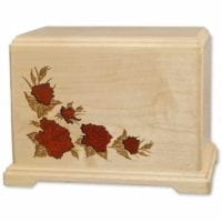 Inlay Roses Maple Urn for Two
