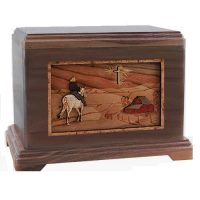 Country Road Walnut Horseback Rider Urn
