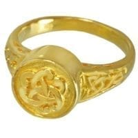 Round Celtic Knot Gold Plate Cremation Ring