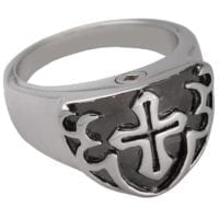 Mens Cross Cremation Ring