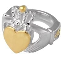Two Tone Claddagh Cremation Ring