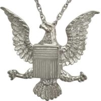 Silver Eagle with Badge Cremation Pendant
