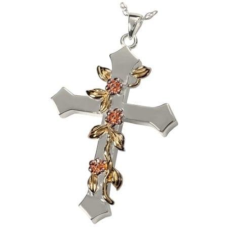 Floral Vine Cross Urn Pendant