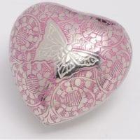 Pink Etched Butterfly Heart Keepsake Urn