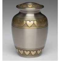 Classic Hearts Small Brass Urn